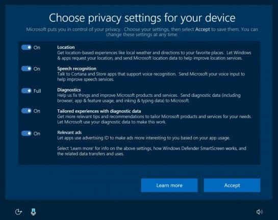 Windows 10 privacy dashboard